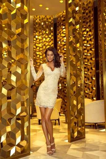 Sukienka  EMO DIANA złota/beż