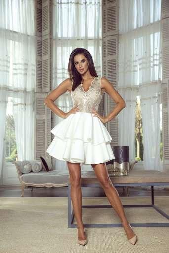 Sukienka EMO EMMA wrzos/biała