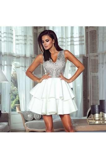 Sukienka EMO EMMA szaro/biała