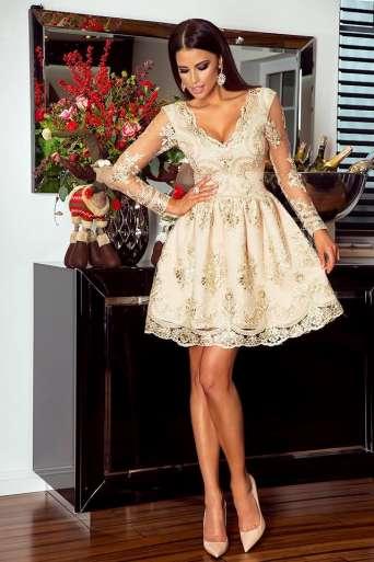 Sukienka EMO AMELIA beż/złoto