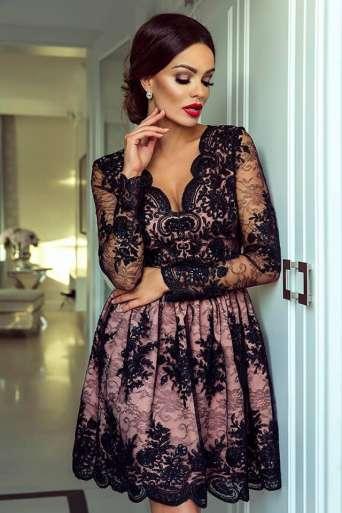 Sukienka EMO AMELIA czarna/beż