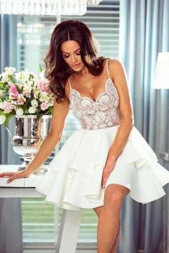 Sukienka EMO LEILA biała/beż